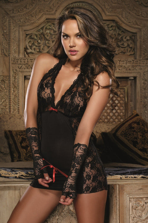 Halter Chemise With Matching Thong And Gloves  | BigSmalls™