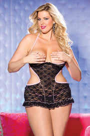 Stretch Lace Open Bust Teddy  | BigSmalls™