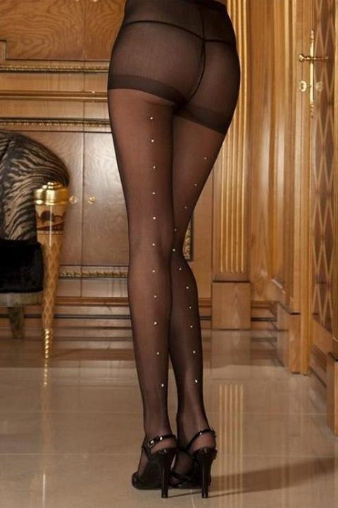 Sheer Pantyhose with rhinestone back seam.  | BigSmalls™