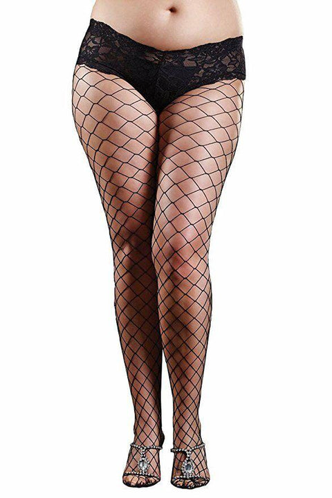Diamond Net Tights With Sexy Lace Boy Short Top  | BigSmalls™