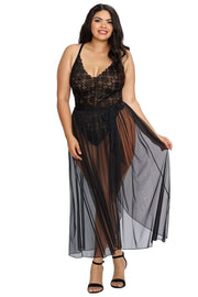 Plus Size High Leg Lace Teddy And Sheer Skirt
