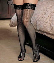 Thigh-high fishnet hold ups with lace top