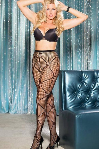 swirly Fishnet open crotch pantyhose.   | BigSmalls™
