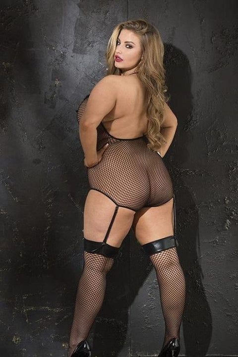 Stretch fishnet and patent leather teddiette with stocking