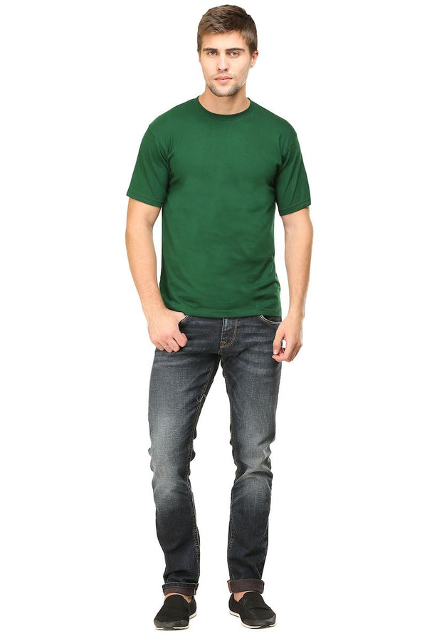Bottle Green Plain Round Neck T-Shirt