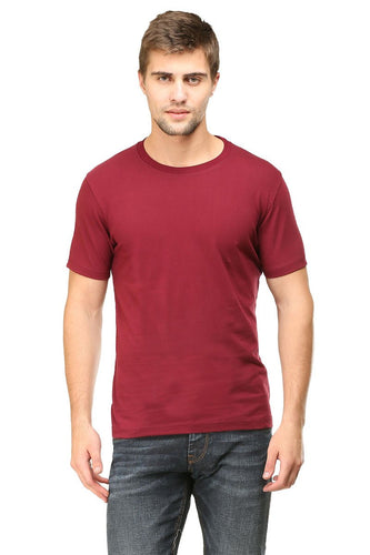Maroon Plain Round Neck T-Shirt - Mister Fab