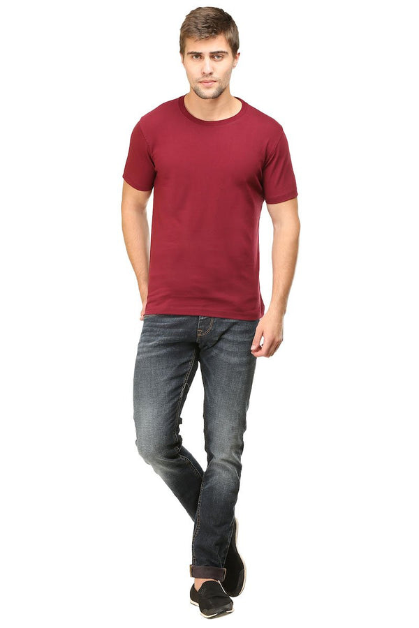 Maroon Plain Round Neck T-Shirt