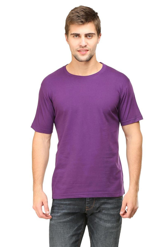Purple Plain Round Neck T-Shirt - Mister Fab