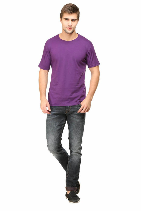 Purple Plain Round Neck T-Shirt