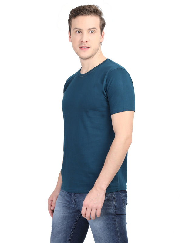 Petrol Blue Plain Round Neck T-Shirt