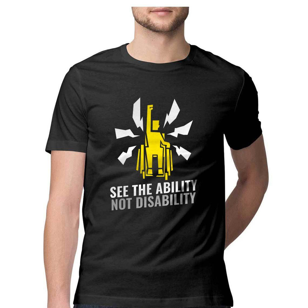 See The Ability Not Disability Round Neck T-Shirt - Mister Fab