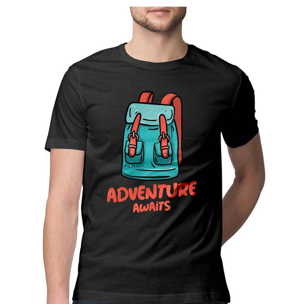 Adventure Awaits Round Neck T-Shirt - Mister Fab