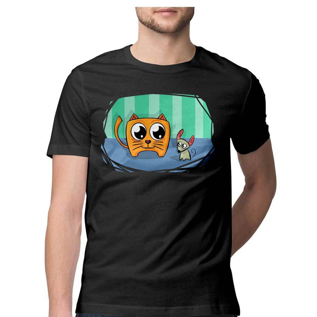 Happy Mouse Cat Round Neck T-Shirt - Mister Fab
