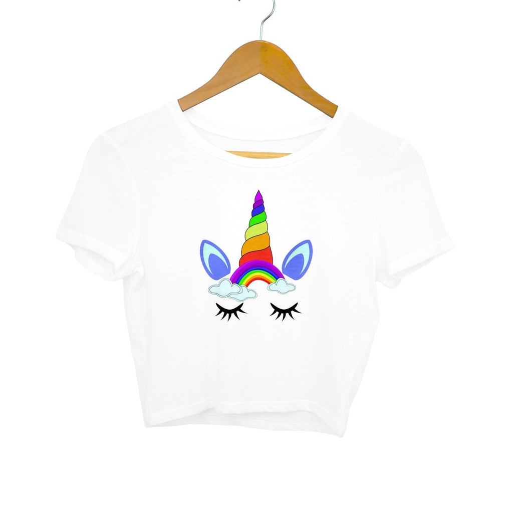 Rainbow Unicorn Face Crop Top - Mister Fab