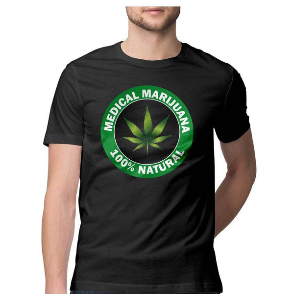 Hundred Percent Natural Marijuana Round Neck T-Shirt - Mister Fab