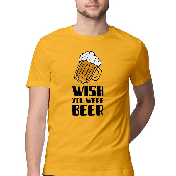 Wish You Were Beer Round Neck T-Shirt - Mister Fab