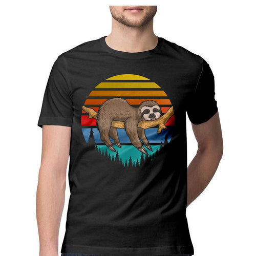 Lazy Sloth Round Neck T-shirt - Mister Fab