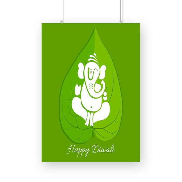 Go Green With Ganesha Happy Diwali Poster - Mister Fab