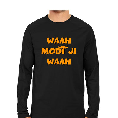 Waah Modi Ji Waah Men Round Neck Long Sleeve T-Shirts - Mister Fab