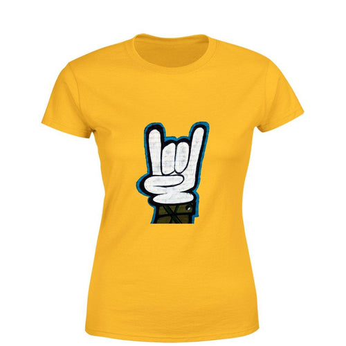 Graffiti hand Women Round Neck printed T-Shirts - Mister Fab