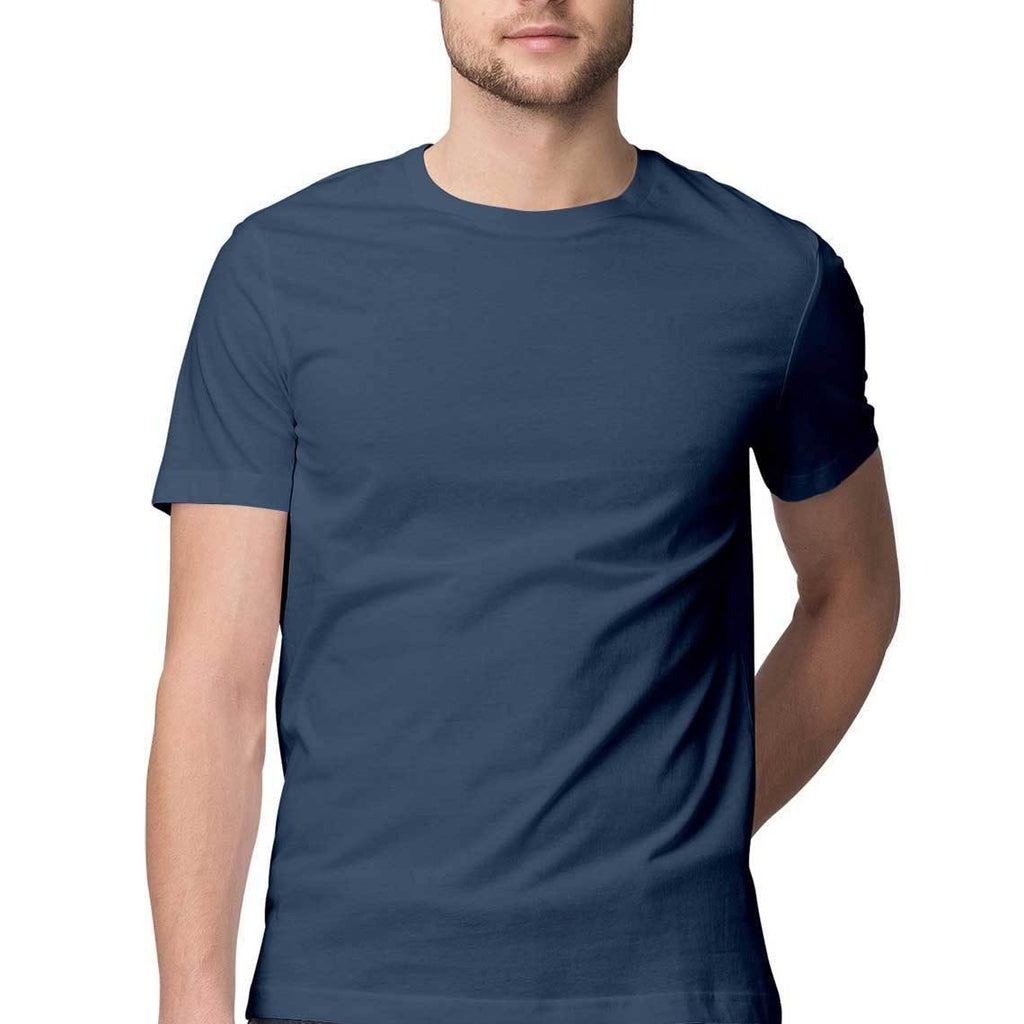 Navy Blue Plain round Neck T-Shirts - Mister Fab