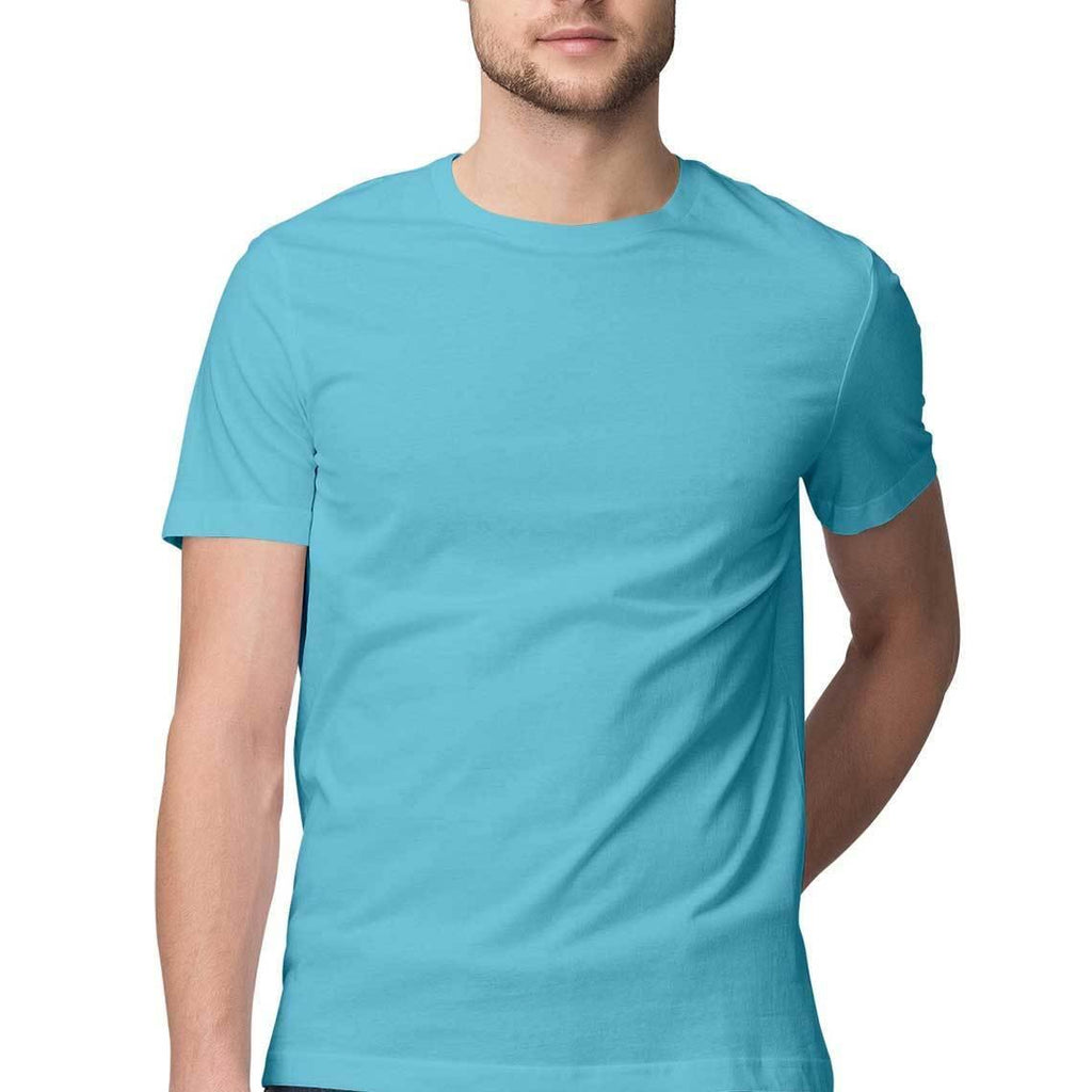 Sky Blue Plain round Neck T-Shirts - Mister Fab