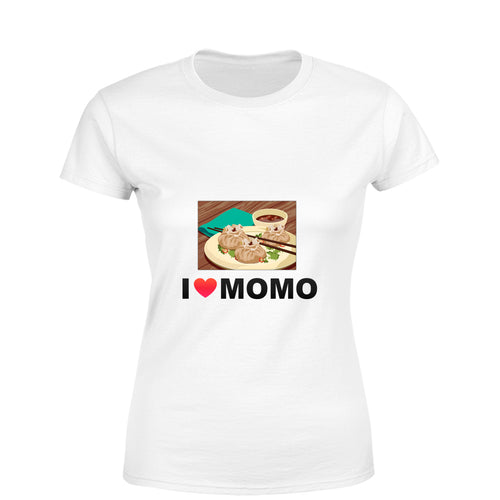 Mister Fab I Love Momos Women Round Neck printed T-Shirts - Mister Fab