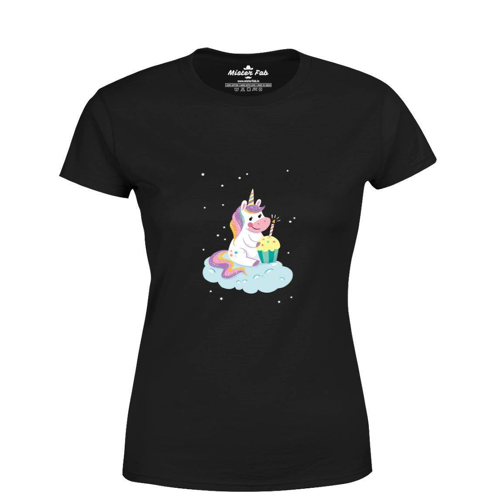 Foodie Unicorn Women Round Neck T-Shirts - Mister Fab