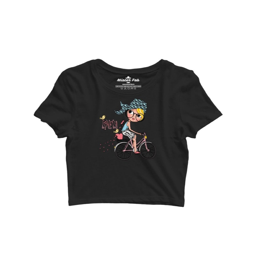 Bicycle Girl Women Crop Top - Mister Fab