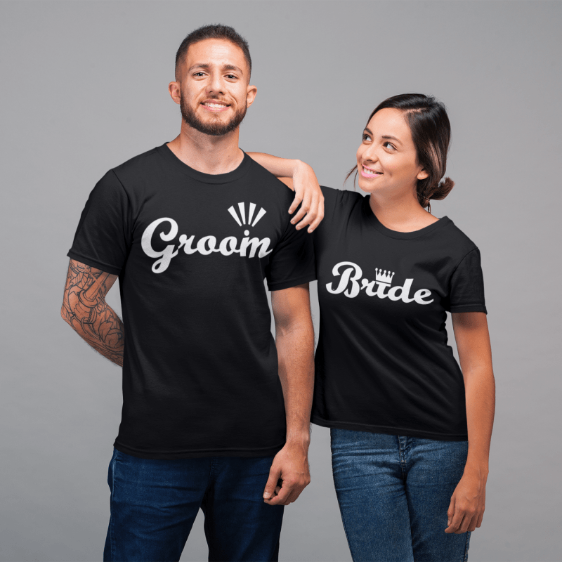 Groom and Bride Round Neck T-Shirt - Mister Fab