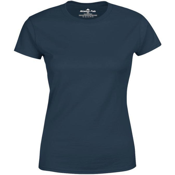Women Navy Blue Round Neck plain T-Shirt - Mister Fab