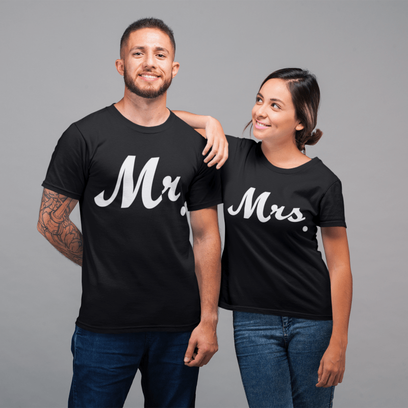 Mr and Mrs Round Neck Couple T-Shirt - Mister Fab