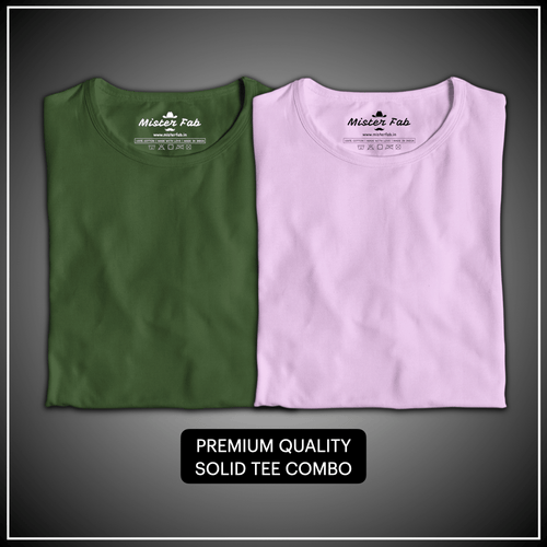 Pack of Two Unisex T-Shirts (Olive Green and Baby Pink) - Mister Fab