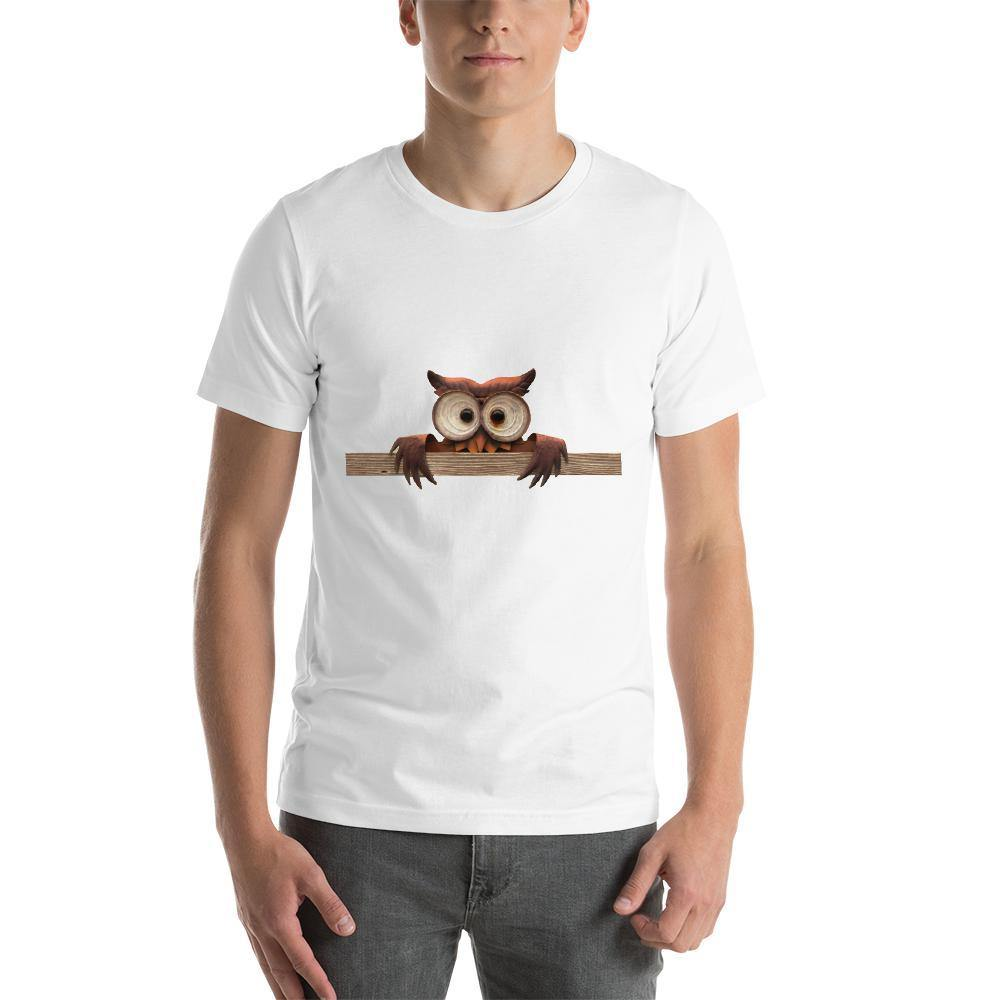 Staring Owl Men Round Neck printed T-Shirts - Mister Fab