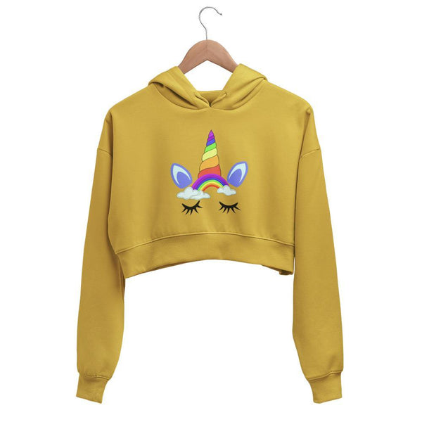 Rainbow Unicorn Face Crop Top Hoodie - Mister Fab