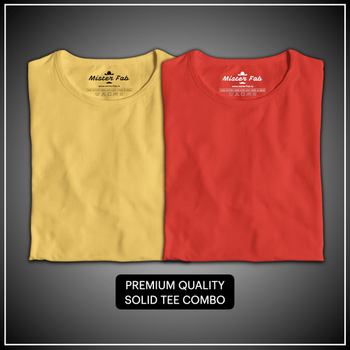 Pack of Two Unisex T-Shirts (Red and Golden Yellow) - Mister Fab