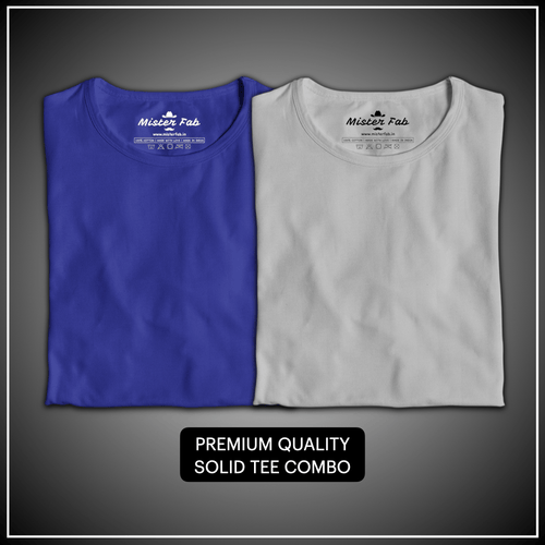 Pack of Two Unisex T-Shirts (Royal Blue and Melange Grey) - Mister Fab