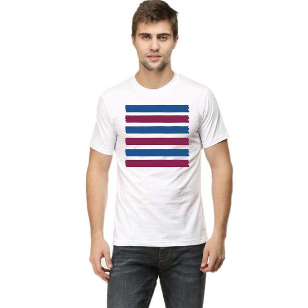 Stroke Line Colour Block Pattern T-Shirts - Mister Fab