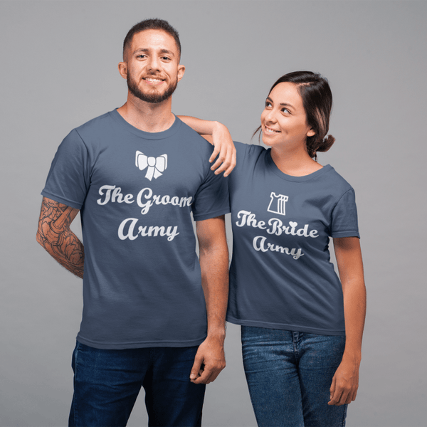 The Bride Army and The Groom Army Round Neck T-Shirt - Mister Fab