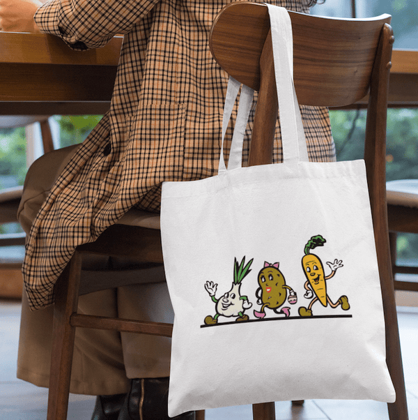 Cartoon Vegetable Tote Bag - Mister Fab
