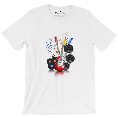 Music is life round Neck T-Shirts - Mister Fab