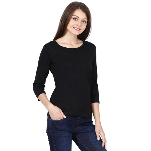 Female Round Neck Solid Full Sleeve T-Shirts - Mister Fab