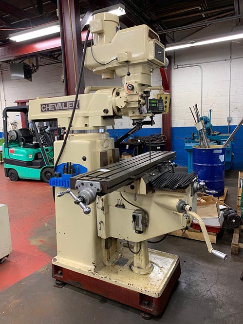 52'' Table 5HP Spindle Chevalier FM-5VKH VERTICAL MILL, Vari-Speed, #40 Taper, Sony DRO, Servo Tbl Fd, Box