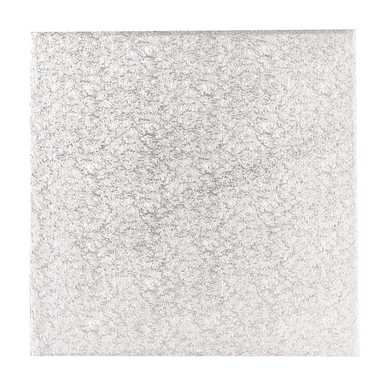 10'' (254mm) Single Thick Square Turn Edge Cake Card Silver Fern (1.75mm thick)