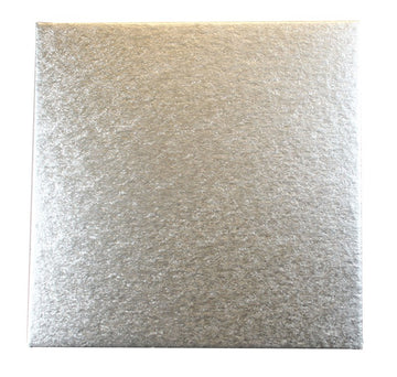 12'' (304mm) Single Thick Square Turn Edge Cake Card Silver Fern