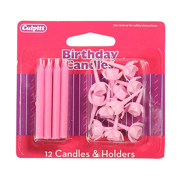 12 Pink Birthday Candles and Holders