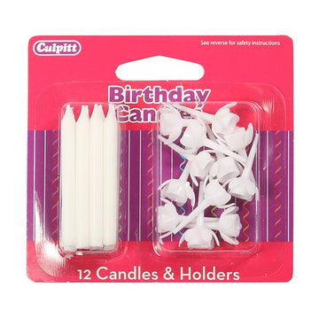 12 White Birthday Candles and Holders