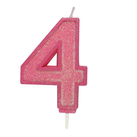 Pink Sparkle Numeral Candle - Number 4 - 70mm