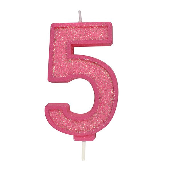 Pink Sparkle Numeral Candle - Number 5 - 70mm