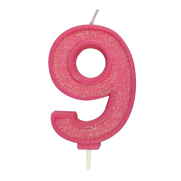 Pink Sparkle Numeral Candle - Number 9 - 70mm
